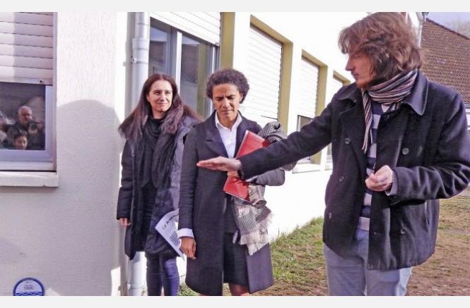 Collège de Valdoie (Dpt 90) sensibilisation des 6ème avec pose de repère de crue